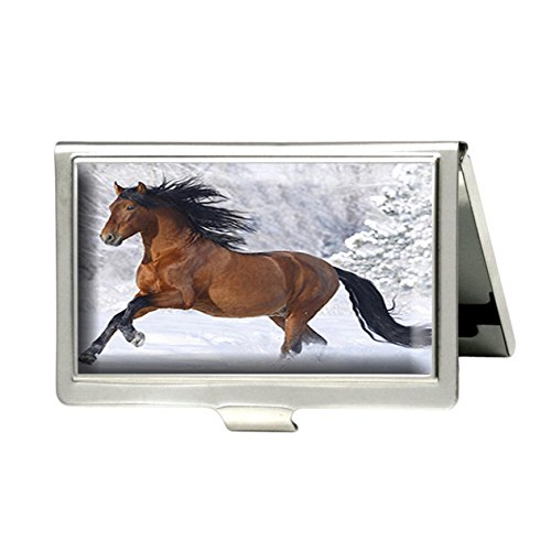Caikem Abstract Horse Custom Personalized Stainless Steel Silver Business Card Holder Pocket Business Name Credit Card ID Card Wallet