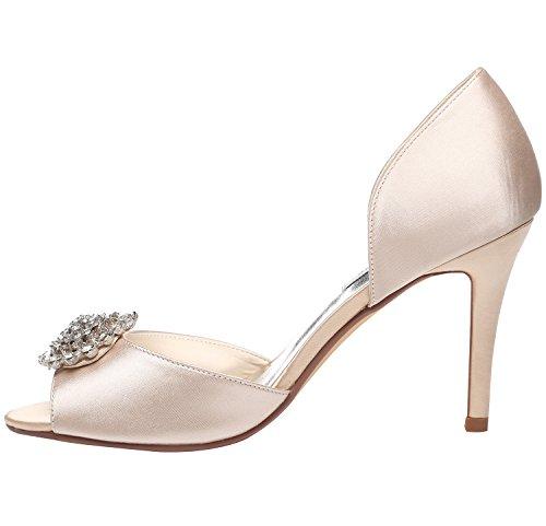 Meijia Women's Pumps Rhinestone Brooch Peep Toe Sexy Heels Satin Wedding Party Dress Court Shoes Champagne 4hLMkNZ