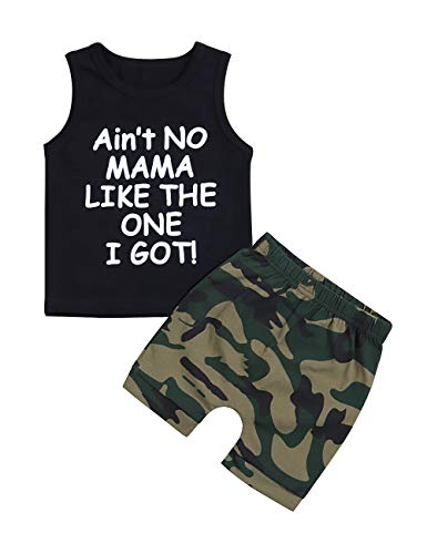 Baby Boy Clothes Funny Letter Printed Vest and Camouflage Shorts Summer Outfit Set 6-12 Months