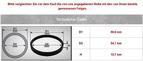 Aussen 56,6 mm Innen 54,1 mm 4x Zentrierringe Durchmesser