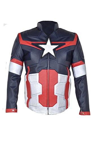 Vengadores con de 2015 de nbsp;Multi sintética chaqueta de edad América Capitán cuero Ultron Color una Los El Z7xFISq8w
