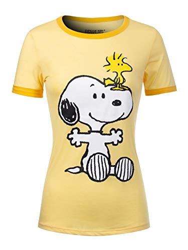 (Instar Mode Women's Peanuts Snoopy & Woodstock Short Sleeve Crew Neck Top PS57 Yellow L )