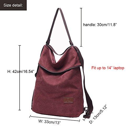 Travistar Women Multifunction Shoulder Bag Canvas Crossbody Casual Daypack Handbag for work and daily use by Travistar (Image #2)