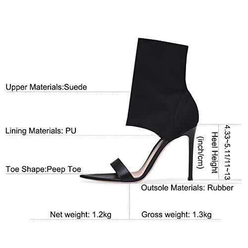 sandales femme Talons toe peep noires 651 mwoook aiguilles élégant sexy bloc talon haut wqqYxAfP4
