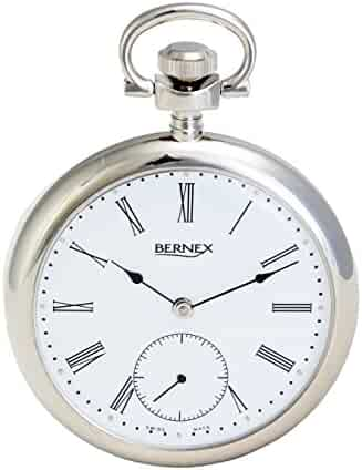 BN22211 - Rhodium Plated - Open Face - Mechanical Movement - Roman Dial - White Dial