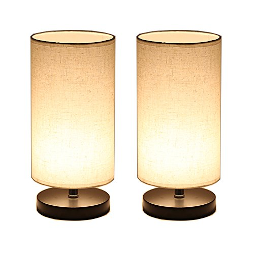 2 Light Set (DEEPLITE Wood Table Lamp with Fabric Shade, LED Bulb Bedside Desk Lamp, set of 2 (Round))