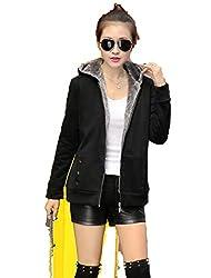 Kebinai 2018 Spring Autumn Jackets Women Casual Hoodies Coat Cotton Sportswear Coat Hooded Warm Jackets Black Xl