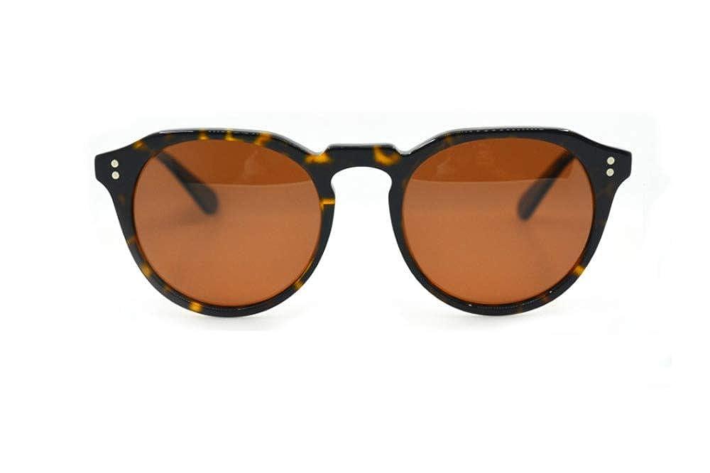 Dark Brown Tortoise Small Vintage Style Round Polrized Sunglasses, 53 mm