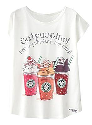 Doballa Women's Funny Cat Drinks Print Round Neck Tee Short Sleeve T Shirt Tops