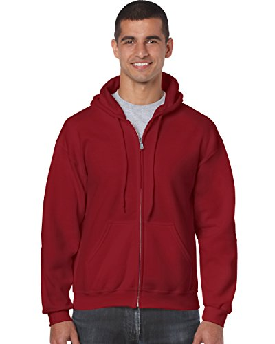 Gildan 18600 – Classic Fit Adult Full Zip Hooded Sweatshirt Heavy Blend – First Quality – Cardinal Red – 5X-Large