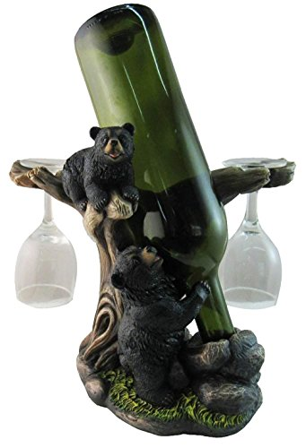 "Gifts & Decor 10"" Tall Climbing Black Bear Liquor Wine Glasses and Bottle Valet Holder Decorative Figurine"