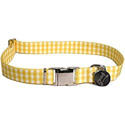 """Southern Dawg Gingham Yellow Premium Dog Collar - Size Small 10"""" - 14"""""""