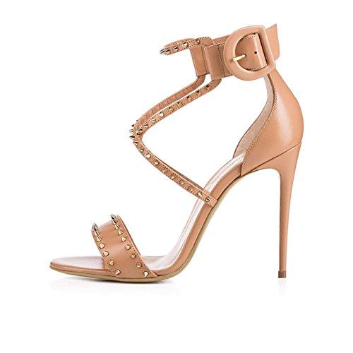 CCYYJJ Women's High Heel Sandals/Large Size/Slippers/Banquet Shoes/Sandals/Roman/Buckle Sandals/Rivet Shoes,#2,36