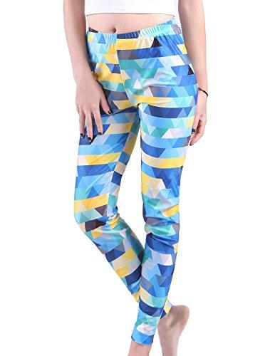 Geometric Leggings (HDE Women's Slimming Yoga Leggings - Quick Dry Mid Rise - Printed Yoga Pants (Geometric Triangles, Large))