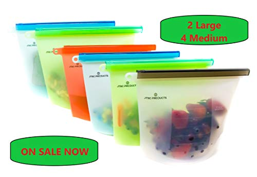Reusable Silicone Food Bags By JTSC Products - Baby Food Storage Bags, Sandwich Bags, Sous Vide Bags - Microwave Dishwasher Freezer Oven Safe - 6 Pack 2 large 4 medium Silicone bags reusable