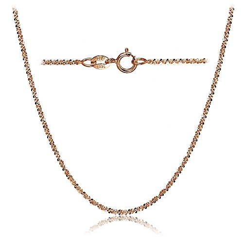Bria Lou 14k Rose Gold 1.3mm Italian Rock Rope Chain Necklace, 16 Inches by Bria Lou