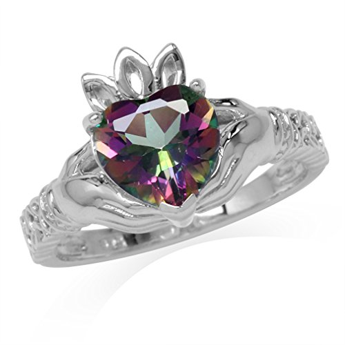 2.33ct. Mystic Fire Topaz White Gold Plated 925 Sterling Silver Claddagh Ring Size 8