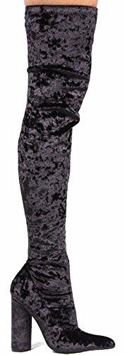 Cape Robbin GD80 Womens Snug Fit Inside Zip Stretchy Block Heel Thigh High Boot