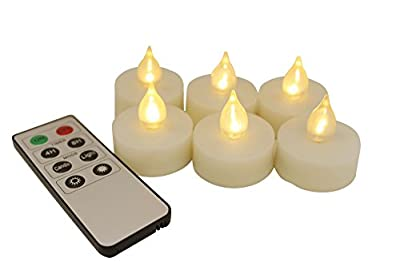 EcoGecko 87221-06 Indoor/Outdoor Remote Controlled Flameless LED Tealight Candles, Ivory, Set of 6