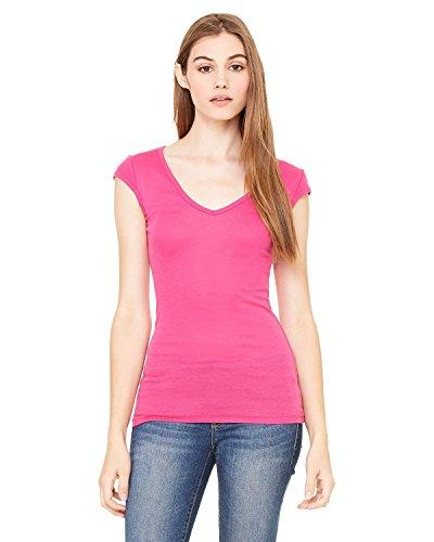 Bella + Canvas Ladies Sheer Mini Rib Cap-Sleeve Deep V-Neck T-Shirt - BERRY - XL - (Style # B8705 - Original Label)