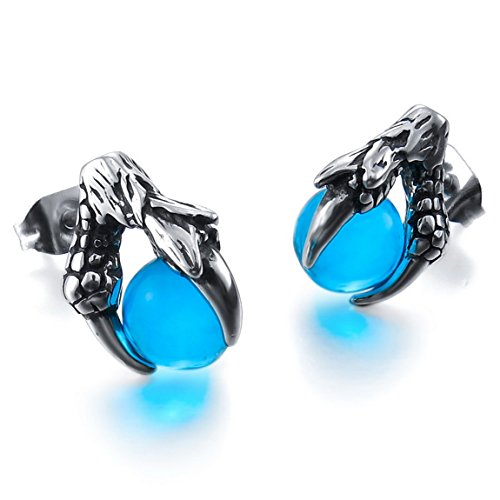 - INBLUE Men's Stainless Steel Stud Earrings Simulated Crystal Silver Tone Black Green Bead Ball Dragon Claw