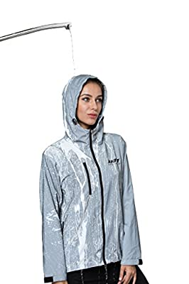 AKFLY Reflective Jacket with Hoodie and Waterproof Wind Breaker for Men Women Hiking Cycling Running Safety Jacket