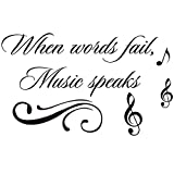 "inspiring living room accent wall Homefind When Words Fail, Music Speaks - Inspiring Quotes Sayings Words Art Decals Inspirational Lettering Vinyl Wall Art for Music Room Living Room Bedroom 22"" w x 13"" h"
