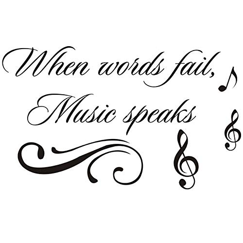 "Homefind When Words Fail, Music Speaks - Inspiring Quotes Sayings Words Art Decals Inspirational Lettering Vinyl Wall Art for Music Room Living Room Bedroom 22"" w x 13"" h"