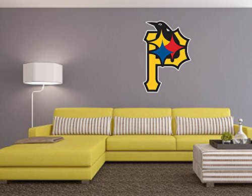 """PITTSBURGH FAN SPORT TEAMS 18""""x25"""" Wall Graphic Sticker Decal Vinyl Logo Steelers Penguins Pirates"""