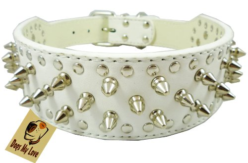 "14.5""-17.5"" White Faux Leather Spiked Studded Dog Collar 2"" Wide, 25 Spikes 44 Studs, Pit Bull, Boxer"
