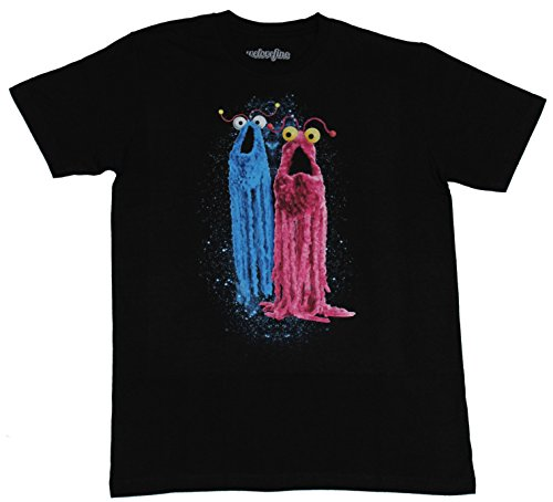 Sesame Street Mens T-Shirt - Yip Yips Blue Red Dripping Head Images (Medium) Black