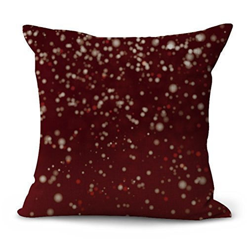 YJBear Merry Christmas Vogue Snow Dot Printed Cotton Linen Decorative Throw Decorative Burgundy Pillow Case Cushion Cover Home Decoration 18