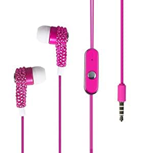 Cerhinu Importer520 White/Pink Diamante 3.5mm In-Ear Stereo Headset w/ On-off & Mic for Huawei Ascend Y M866(U.S.Cellular...