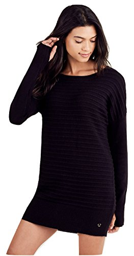 True Religion Women's Dolman Tunic Sweater Dress (Black, Small) Dolman Sweater Dress