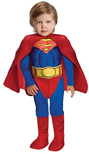 Super DC Heroes Deluxe Muscle Chest Superman Costume, (Toddler Superman Halloween Costume)