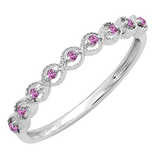 Dazzlingrock Collection Sterling Silver Round Pink Sapphire Ladies Anniversary Wedding Stackable Band Ring, Size 7.5