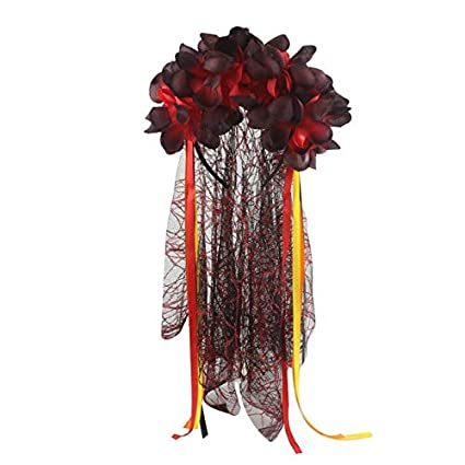 Wedding CORPSE BRIDE VEIL ROSES Halloween Fancy Dress Day Of The Dead Party UK