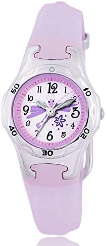 Girl Small Watchesクォーツポインタ、100 m奥行防水クオーツMovement樹脂ストラップシンプル快適'- F [子]