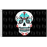 5 Ft Red Pirate Patch Skull Bicycle Safety Flag with Rear Axle Mounting Bracket
