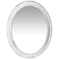 Infinity Instruments Sonore Oval White Wall Mirror | Decorative 30 inch Mirror | Distressed White Antique Beaded Frame | Easy to Hang