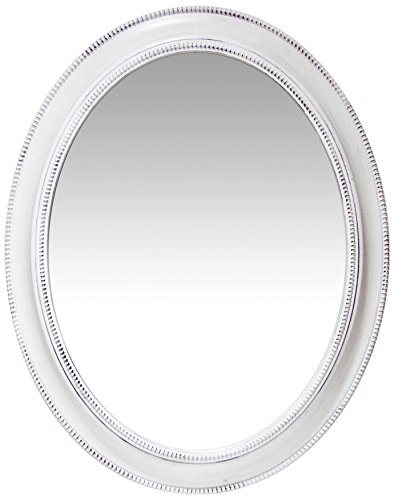 Infinity Instruments Sonore Oval White Wall Mirror | Decorative 30 inch Mirror | Distressed White Antique Beaded Frame | Easy to Hang (Mirror Distressed White)