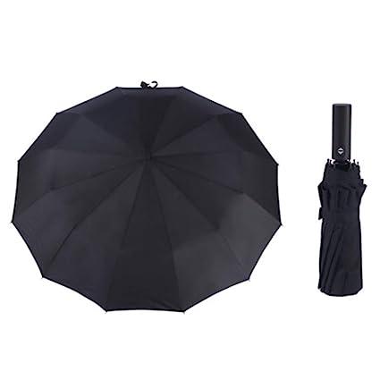 FSHAN 12 Hueso Automatic Paraguas Paraguas Plegable Paraguas Creativo de Hombre de Negocios Tres Veces la
