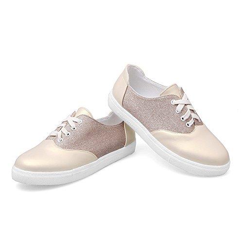 Allhqfashion Dames Lage Hakken Lace-up Blend Materialen Ronde Neus Pumps-schoenen Goud