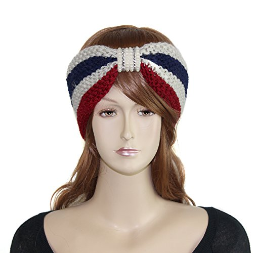 Patriotic Headband Embellished with Pearls and Sequins Bow Inspired Turban