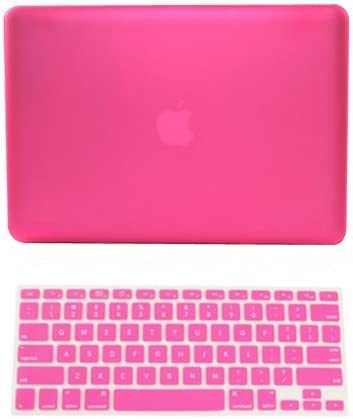 """2 in 1 Rubberized RED Hard Case for Macbook White 13/"""" A1342 with Keyboard Cover"""