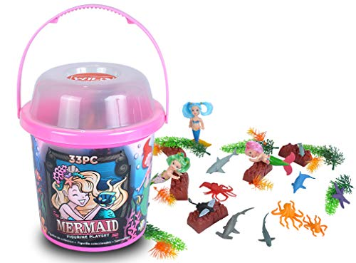 Wild Republic Mermaid Figurines, Toy Bucket, Mermaid Doll, Aquatic Animals, Gifts for Girls, Bath Toys, 33-Pieces -