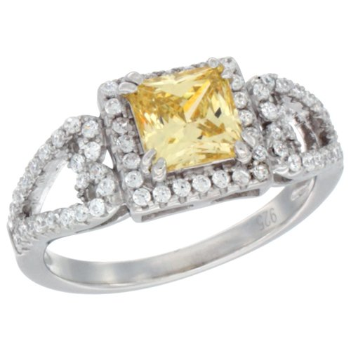 Ladies Sterling Silver Citrine Micro Pave CZ Ring Princess Cut 6mm, size 9