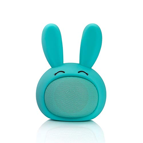 THEA Mini Portable Cute Wireless Bluetooth Bunny Speaker with Squishy Ears, Built in Microphone, 33 ft Connection Range…