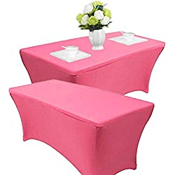 Reliancer 2 Pack 468FT Rectangular Spandex Table Cover Four-Way Tight Fitted Stretch Tablecloth Table Cloth for Outdoor Party DJ Tradeshows Banquet Vendors Weddings Celebrations (8FT, Pink)