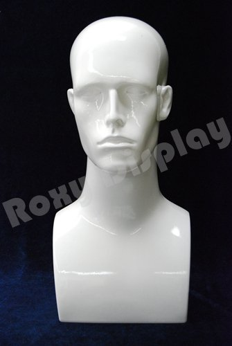 17'' Tall Male Mannequin Head Durable Plastic (WHITE) by Roxy Display